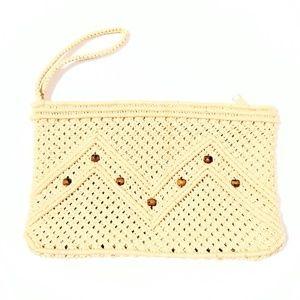 "Handbags - Vintage Macrame Wristlet/Clutch 11""×7"""
